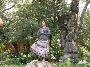 tree pose next to the ancient tree