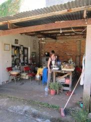 Veronika milling up the dried lemon and orange skins