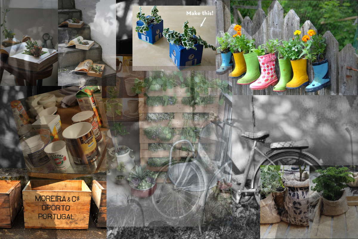 a collage of planter ideas using recycled materials
