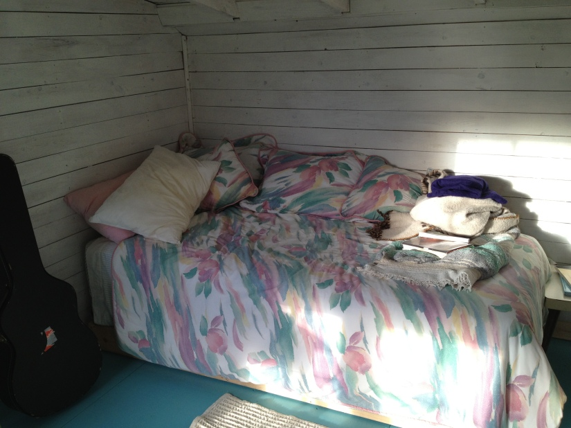 inside, the bed