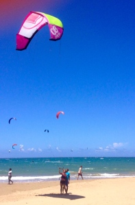 Day #1 of kite-surfing. Learning the kite, on the beach.