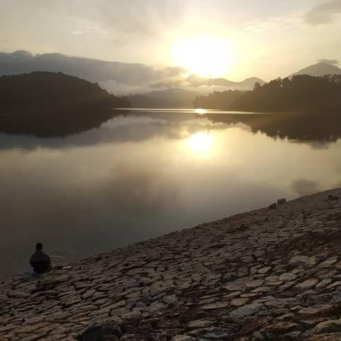 morning meditation spot by the lake